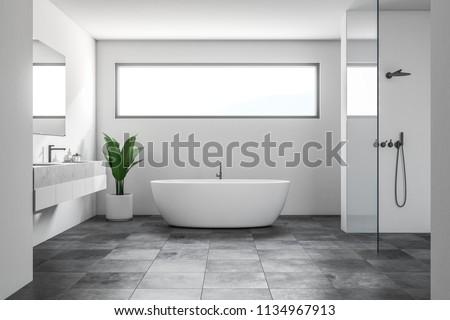 Luxury Bathroom Interior White Walls Tiled Stockillustration