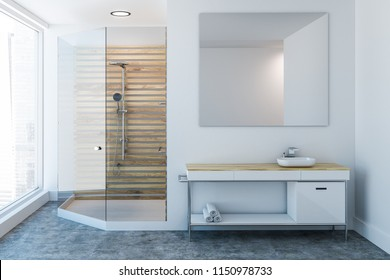 Luxury bathroom interior with a wooden shower stall, a sink vanity unit and a large mirror. 3d rendering mock up