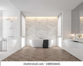 Luxury bathroom with white marble backdrop walls 3d render,The room has wooden floors, white tile walls, There are large windows natural light shining into the room.