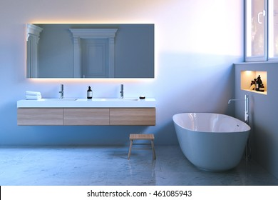 Luxury bathroom with window and marble floor. 3d render.