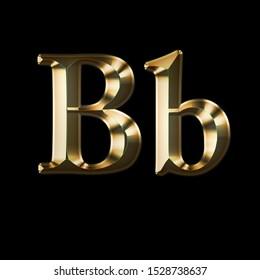 Luxury Bb 2-level Gold Gradient isolated on Black, Gold Glittering Metal Latin Alphabet, Elegant Realistic 3D Aa Golden Glitter Letters,  ABC Font