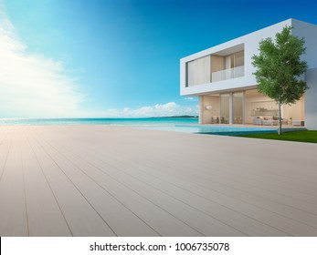 Luxury beach house with sea view swimming pool and terrace in modern design, Empty wooden floor deck at vacation home or hotel - 3d illustration of contemporary holiday villa exterior