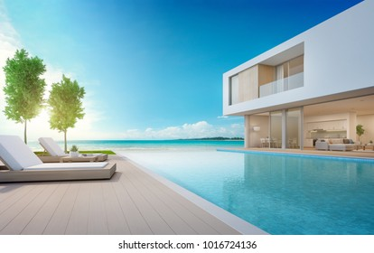 Luxury beach house with sea view swimming pool and terrace in modern design, Lounge chairs on wooden floor deck at vacation home or hotel - 3d illustration of contemporary holiday villa exterior