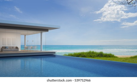 Luxury beach house with sea view in modern design - 3d rendering