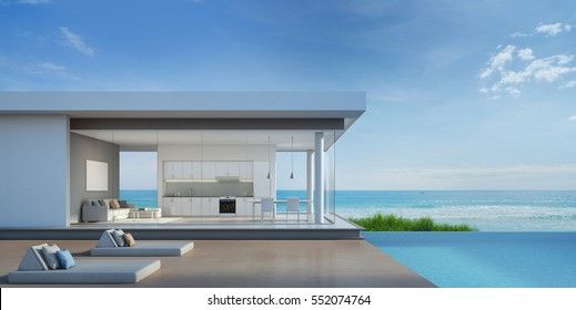 Luxury beach house with sea view pool in modern design - 3d rendering