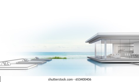 Luxury beach house with sea view swimming pool, Sketch design of modern vacation home for big family - 3d rendering
