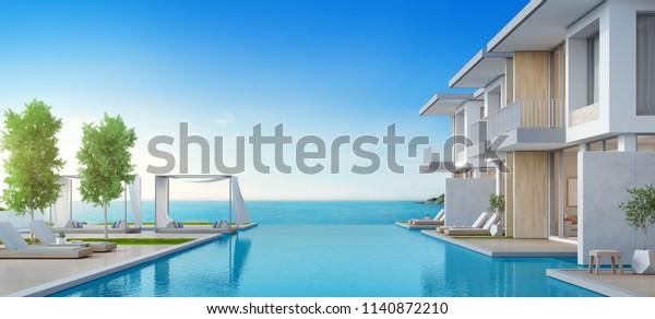 Ilustración De Stock Sobre Lujosa Casa De Playa Con Piscina