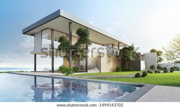 Illustration De Stock De Maison De Luxe Avec Piscine Avec 1494143702