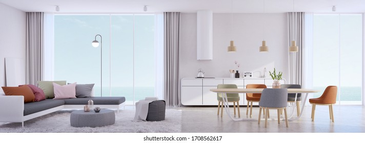 Luxury beach house,dining and living room with infinity edge swimming pool and sea view outside.Vacation home or holiday villa.3d rendering