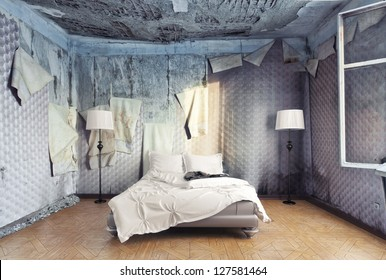 luxury bed in abandoned interior (photo compilation)