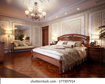 Luxury bedroom interior design in classic style. 3d rendering.