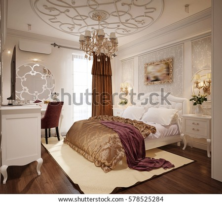 Luxury Bedroom Interior Design In Classic Style With White Bed And Silk  Bedding. 3d Rendering