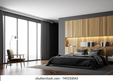 Luxury bedroom interior with gray and wooden walls, a panoramic window, a master bed and an armchair. Side view. 3d rendering mock up