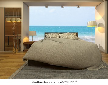 Luxury bedroom interior with sea view and blue sky background-3d render