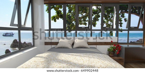 Luxury Bedroom Minimalist Interior Sea View Stock Illustration 40 Enchanting Luxurious Bedroom Minimalist Collection