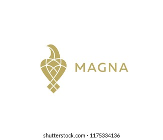 Luxury bird, eagle, hawk logo design. Universal premium falcon symbol logotype.