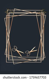 Luxury black frame background with professional hairdressing scissors in gold colour for advertising modern glamour hair salon. 3D illustration. Mock up, banner, card, copy space, opening massage