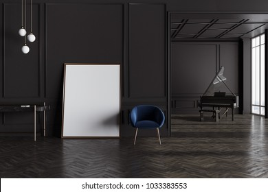 Luxury black living room interior with a dark blue armchair, a piano and a table. A poster. 3d rendering mock up