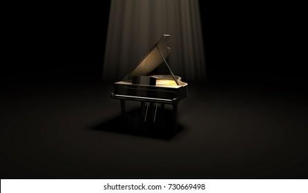 Luxury black piano in the dark scene under the spotlight. 3D render illustration.