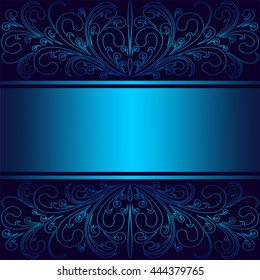 Luxury blue Background with elegant floral Borders and Ribbon (Place for Text). Raster version.