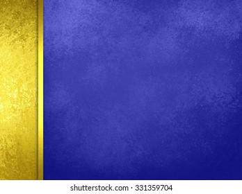 Luxury blue background with gold sidebar and gold ribbon, with vintage texture