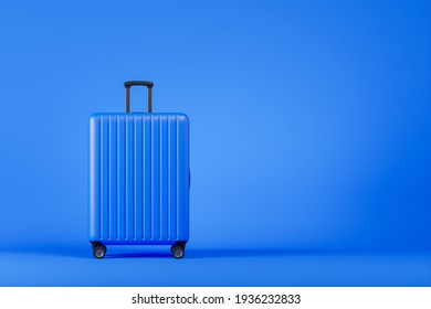 Luxury blue plastic suitcase over blue background. Travel holiday vacation concept. 3d render illustration