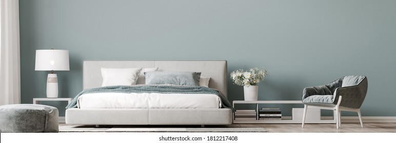 Luxury bright bedroom design, modern white bed and elegant home accessories on pastel blue wall background, 3d render, 3d illustration