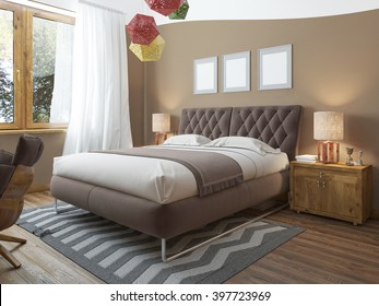 Luxury bright bedroom in the loft. The room brown walls and white ceiling. Quilted headboard and above him three paintings in mockup poster style. At the second level balcony. 3D render