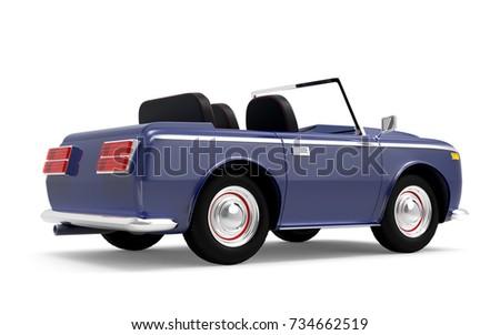 Luxury Car Cabriolet Cartoon Style Vintage Stock Illustration