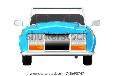 Luxury Car Cabriolet Cartoon Style Front Stock Illustration