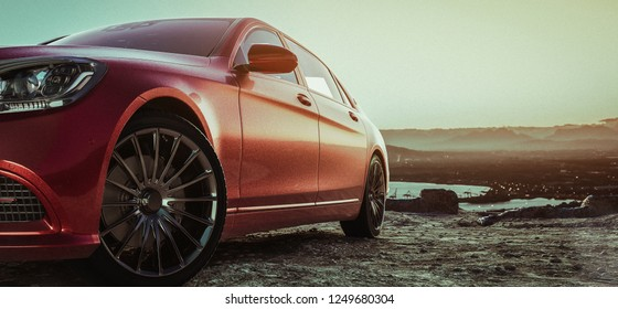 Luxury car parked on a mountain.3D render and illustration.