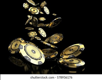 luxury casino chip gold and diamond 3d rendering image