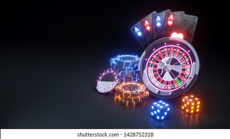 Luxury Casino Roulette Wheel and Four Aces Poker Cards - 3D Illustration