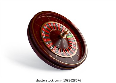 Luxury Casino roulette wheel isolated on white background. Wooden Casino roulette 3d rendering illustration.