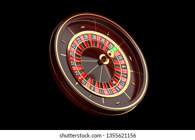 Luxury Casino roulette wheel on black background. Casino theme. Close-up wooden Casino roulette with a ball. Poker game table. 3d rendering illustration