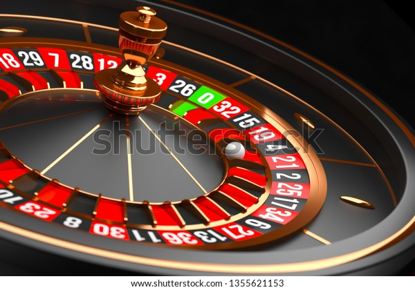 Luxury Casino Roulette Wheel On Black Stock Illustration 1355621153
