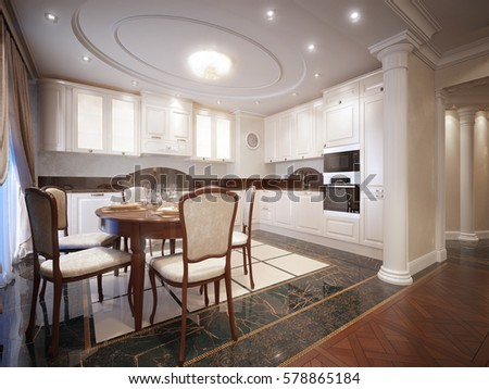 Luxury Classic Interior Of Dining Room Kitchen And Living With Furniture Crystal Chandeliers Fireplace White
