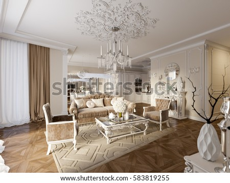Luxury Classic Interior Of Dining Room Kitchen And Living With White Furniture Crystal