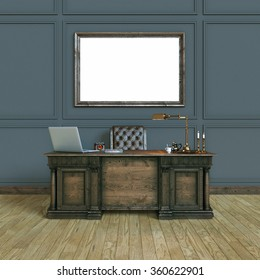 Luxury classic wooden office cabinet with mock up poster. Top view version. 3d render