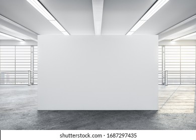 Luxury concrete gallery interior with city view, daylight and blank wall. Museum and art concept. Mock up, 3D Rendering