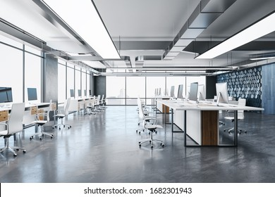 Luxury coworking office room with equipment, computers and megapolis city view. 3D Rendering