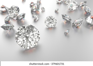Luxury diamonds on white background