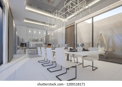 Luxury dining and kitchen areas in penthouse room , 3d rendering