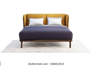 Luxury double bed with colorful headboard and linen on white background. Walnut wooden frame and yellow fabric headboard. Pillows, blanket and bedspread. Double bed on carpet. 3d render