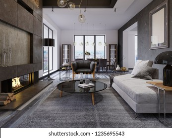 Luxury duplex loft-style apartment, contemporary furniture and brick walls with designer fireplace in the interior, interior design in the loft style. 3d rendering