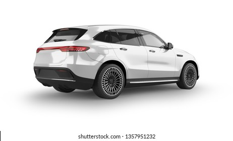 Luxury Electric  SUV 3D Rendering Isolated on White