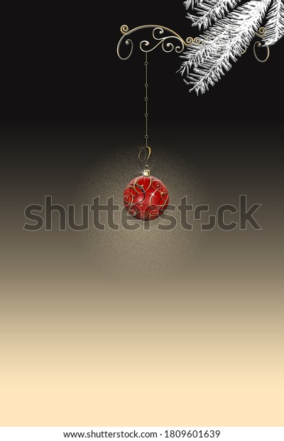 Luxury elegant Christmas 2021 New Year ornament with red gold bauble with gold confetti on black dramatic background. Minimalist vertical New Year card. Place for text, copy space. 3D Illustration.