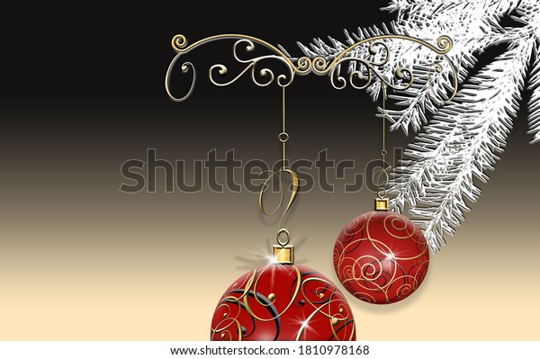 Luxury elegant Christmas 2021 New Year ornament with red gold baubles with gold ornament on black dramatic background. Minimalist New Year card. Place for text, copy space. 3D Illustration.