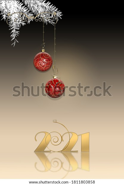 Luxury elegant Christmas 2021 New Year ornament with red gold bauble with gold confetti, digit 2021 on black background. Vertical 2021 New Year card. Place for text, copy space. 3D Illustration.
