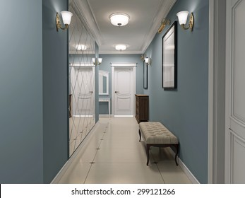 Interior corridor arab style d render stock illustration